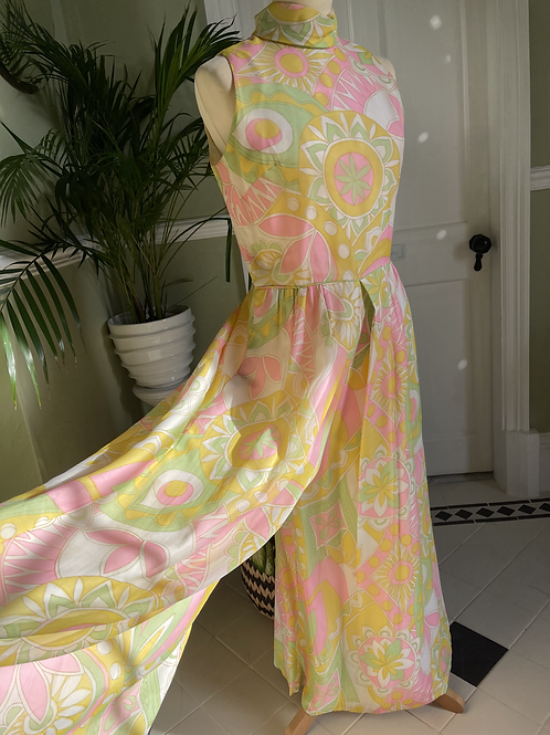 1960s Pastel Pink and Yellow Chiffon Cat Suit Front View