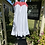 70s White Sun Dress with Red Trim on hanger