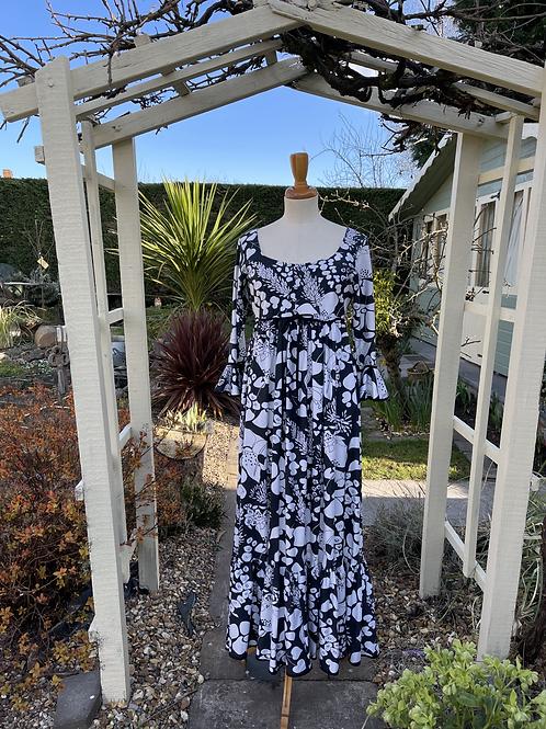 1970s Black & White Print Maxi Dress Front View