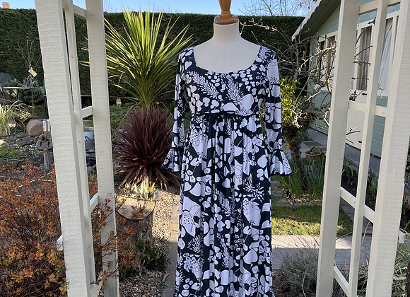 Black & White Print Maxi Dress