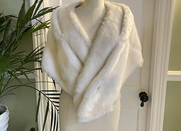 White Faux Fur Vintage Stole