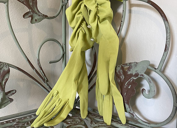 Bright Lime Green Ruched 3/4 Gloves