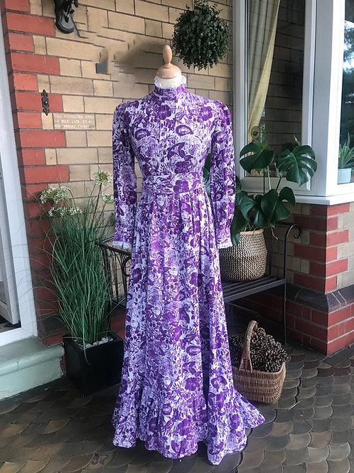 1970s Purple & White Prairie Maxi Dress By Laura Ashley Front View