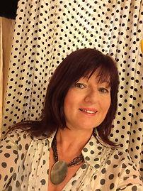 Lynda Case in Polka Dots owner of Rock Follies Vintage