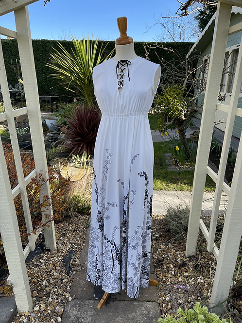 White Maxi Dress with Hem Print Front View