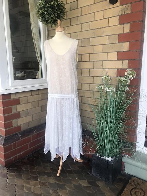 1920's Style Cotton Handkerchief Hem Dress Front View