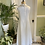 1960s White and Lurex Shift Gown Back View