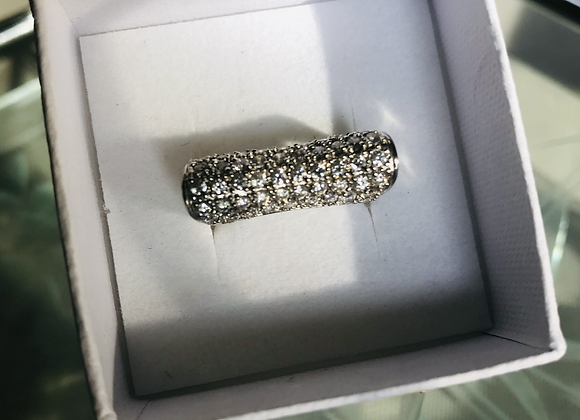 Square Diamanté Silver Ring