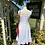 70s White Sun Dress with Red Trim back view