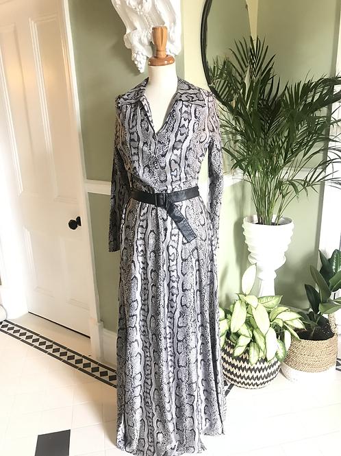 1970s Grey Python Print Maxi Dress Front View