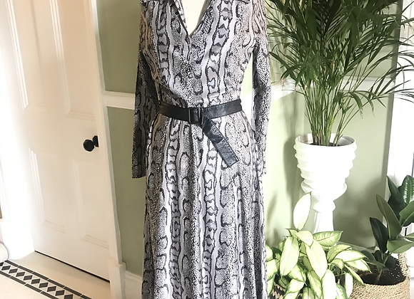 1970s Python Print Maxi Dress