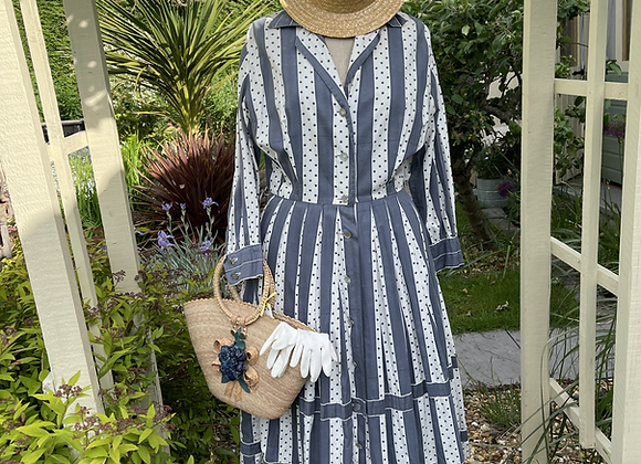 1950s Cotton Button Through Tea Dress