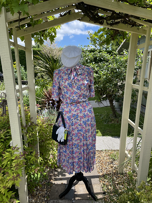 1980s Does 1940s  Floral Print Day Dress Front View