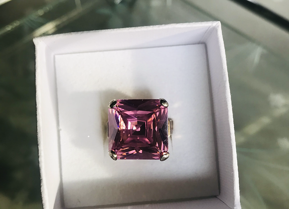 Square Pink Stone Silver Ring