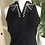 1960s Black Crepe Midi Dress with Pearls By Carnegie Front View