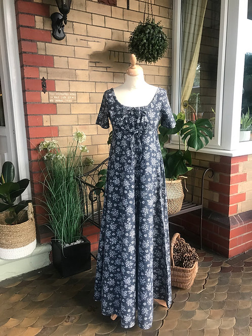 1970s Laura Ashley Grey Print Midi Dress Front View