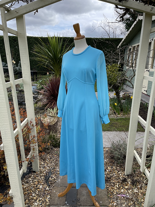 1970s Blue Maxi Dress with Sheer Sleeves Front View