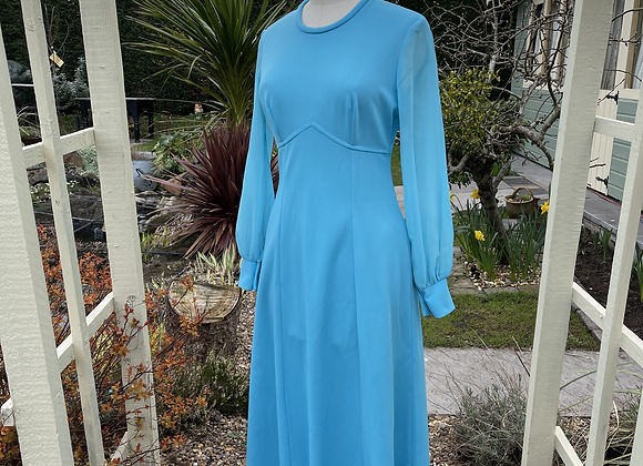 1970s Maxi Dress with Sheer Sleeves