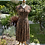 1940s Cotton Brown Floral Day Dress with Pointed Collars Front View