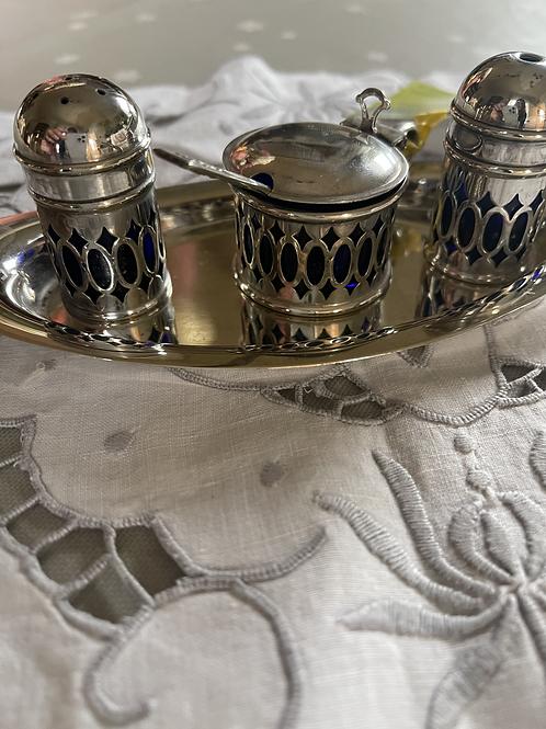 Silver Plated Filigree Cruet Set on Tray