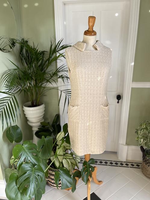 1960s Cream Dress & Coat Suit Front View