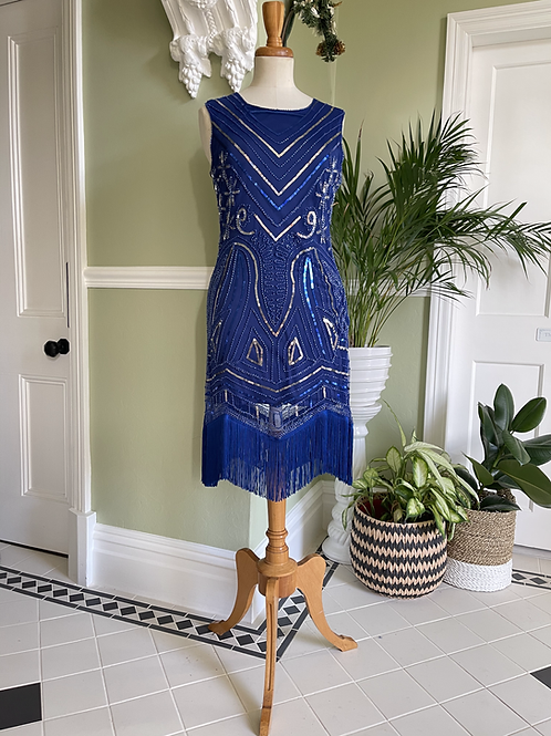 1920s Style Fringed Blue Sequinned Dress Front View