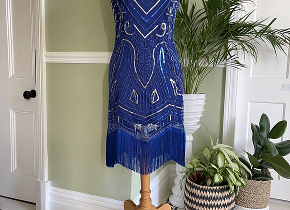 1920s Style Fringed Blue Sequinned Dress