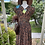 1940s Cotton Brown Floral Day Dress with Pointed Collars Back View