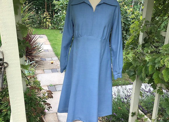 1970s Blue Princess Line Dress