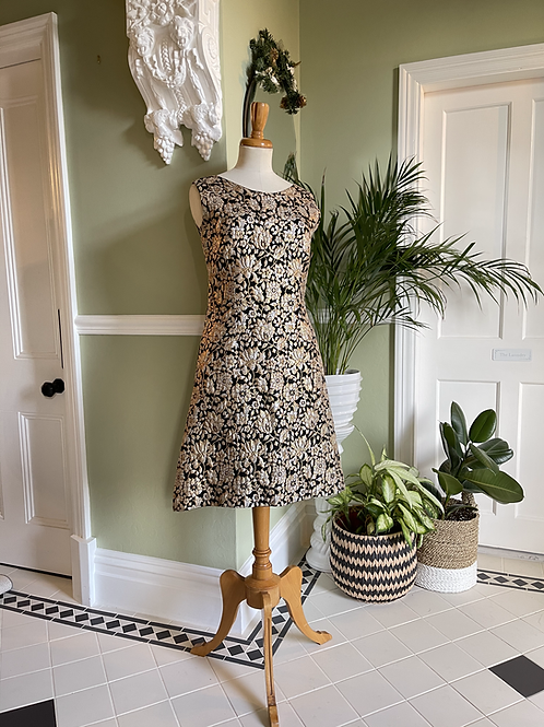 1960s Black and Gold 'A' Line Brocade Dress Front View