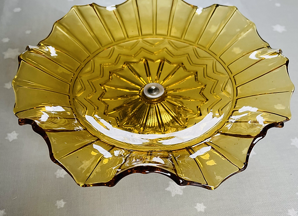 1930s Amber Coloured Fluted Dish