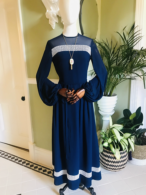 1970s Navy Chiffon Long Dress with Bishop Sleeve Front View