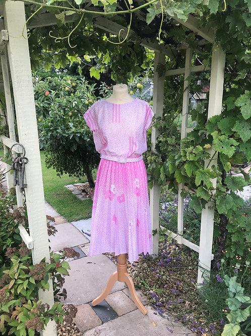 80s Cap Sleeve Pleated Dress