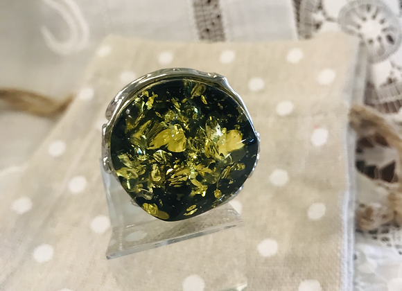 Green Faux Amber Ring