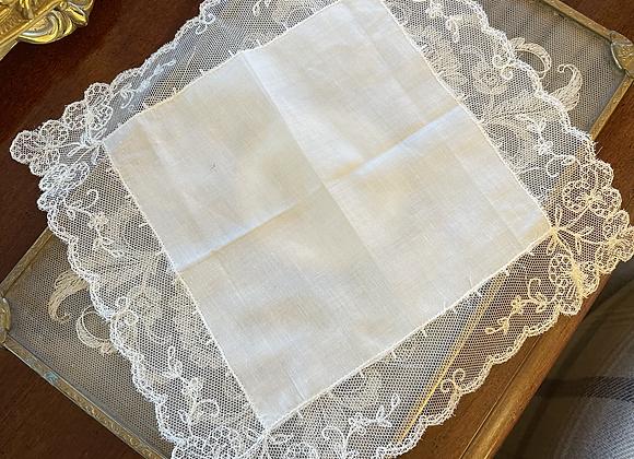 Vintage Lace Handkerchief - Flowers