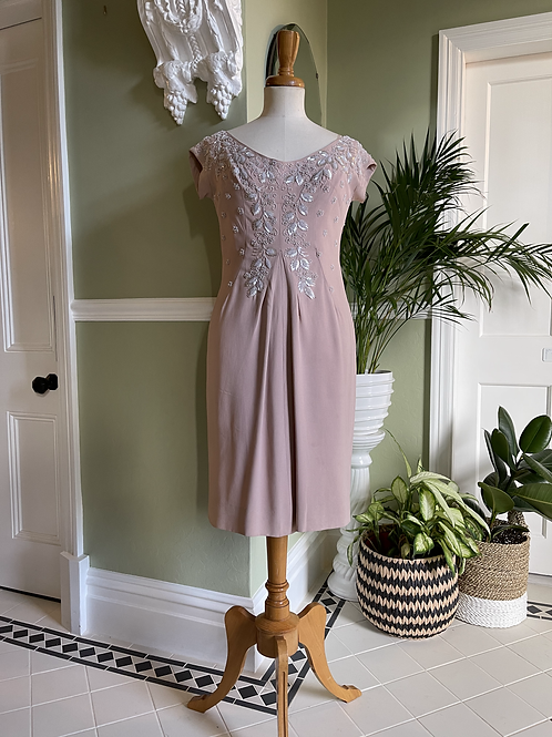 Dusky Pink 1950s Hand Beaded Crepe Dress Front View