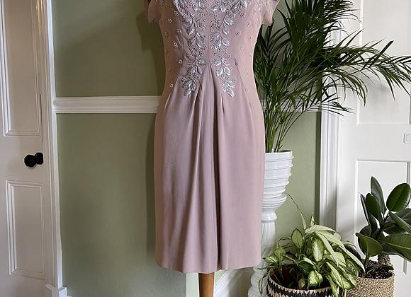 1950s Hand Beaded Crepe Dress