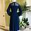 Thumbnail: 1970s Navy Chiffon Long Dress