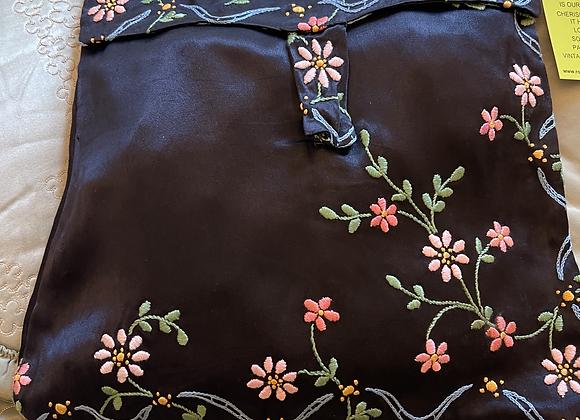 Black Satin Embroidered Case