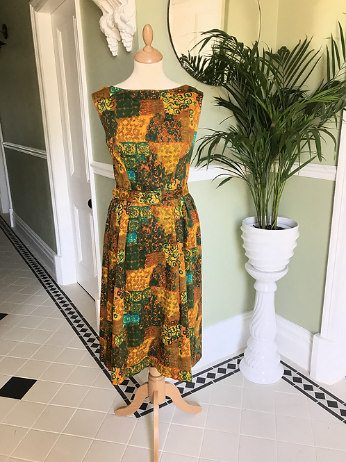 1950s Cotton Print Day Dress Front View