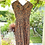 1940s Cotton Brown Floral Day Dress with Pointed Collars on Hangers