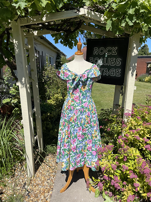 1980s Pretty Floral Tea Dress Front View
