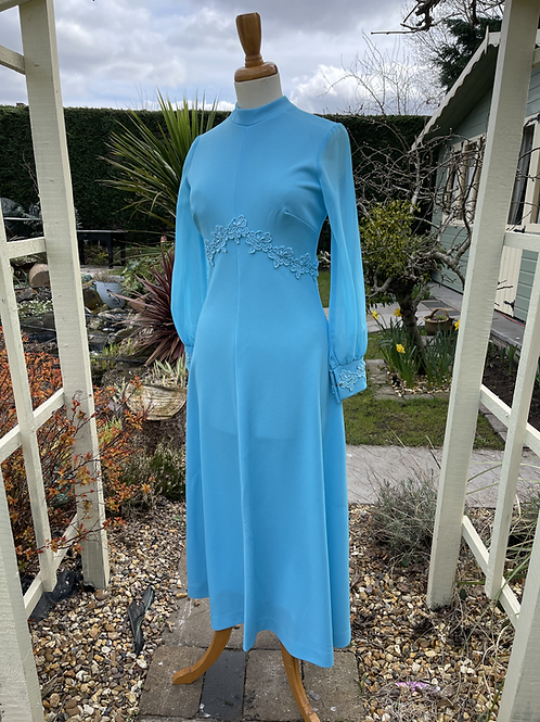 1970s Maxi Dress with Sheer Sleeves Front View