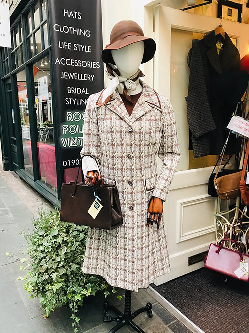 1970s White and Brown Dress & Coat Front View