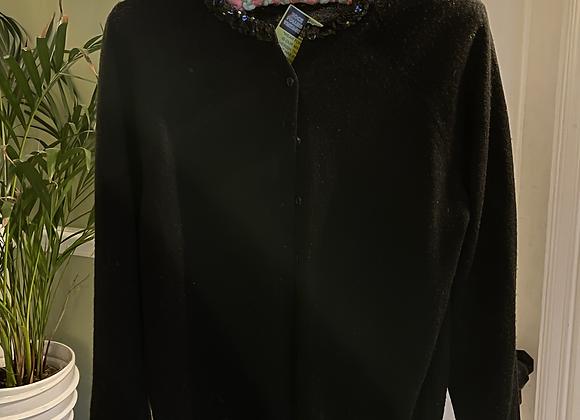 Black Cardigan with Sequin Trim