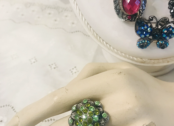 Adjustable Green Flower Stone Ring