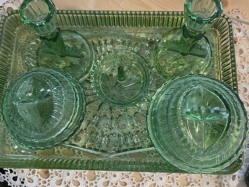 1930s Green Glass Dressing Table Set