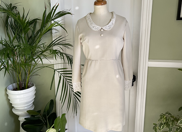 1960s Cream Dress with Lace Trim