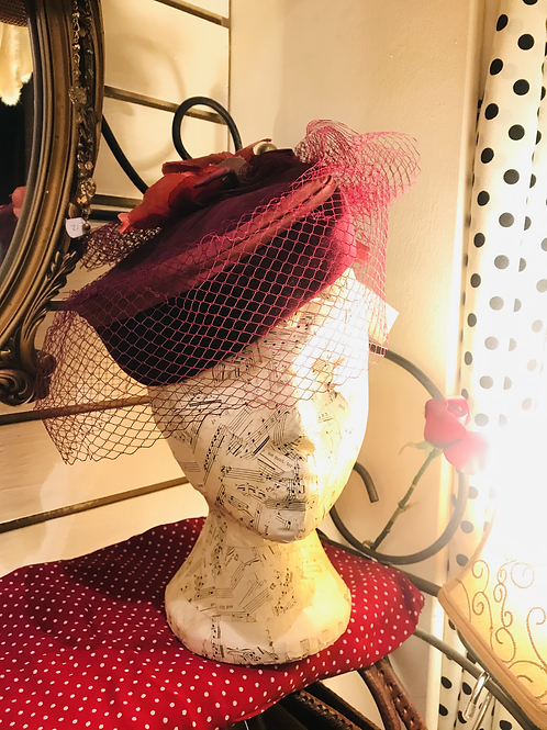 Velvet Pill Box Hat with Veiling