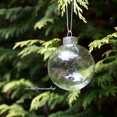 16 Boxes of 6 8cm Clear Glass Christmas Baubles